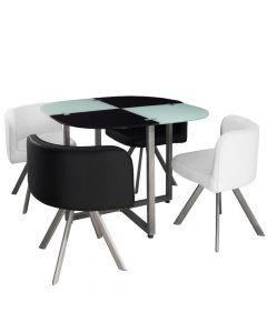 Table carrée pratique gain de place Mosaic 90 verre noir et blanc