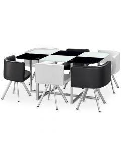 Table rectangulaire pratique gain de place Mosaic XL verre bicolore noir et blanc