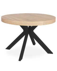 Table ronde extensible Myriade Chêne Clair Pieds Noirs