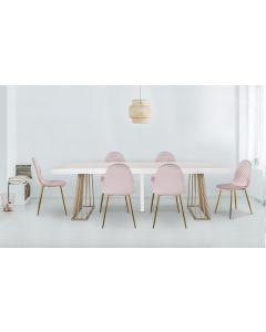 Lot de 4 chaises matelassées Norway Velours Rose