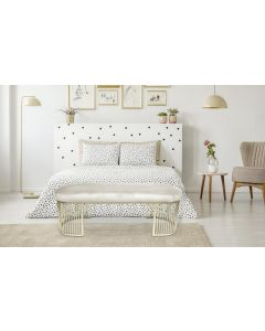 Banquette Orleans Velours Beige pieds Or
