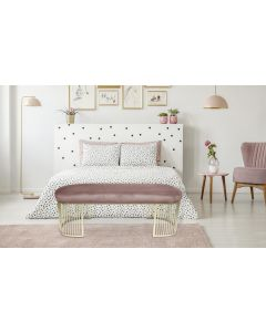 Banquette Orleans Velours Rose pieds Or