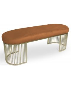 Banquette Orleans Velours Terracotta pieds Or