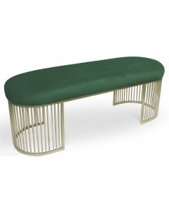 Banquette Orleans Velours Vert pieds Or