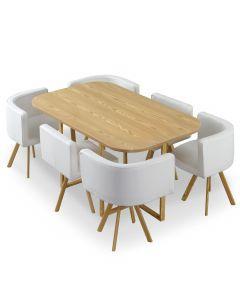 Table et chaises Oslo XL Chêne et Simili Blanc
