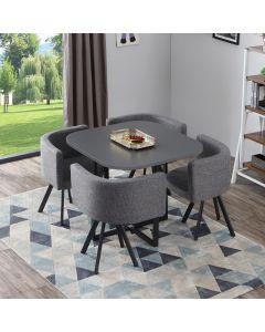 Table et chaises Oslo Gris et Tissu Gris