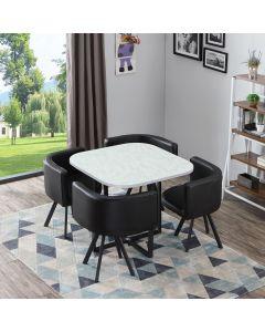 Table et chaises Oslo Effet Marbre et Simili Noir