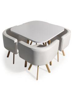 Table et chaises encastrables scandinaves Oslo Blanc