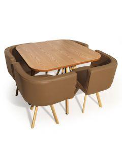 Table et chaises encastrables scandinaves Oslo Taupe
