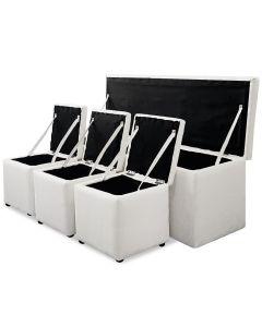 Banc Coffre Panky XL + 3 poufs Blanc
