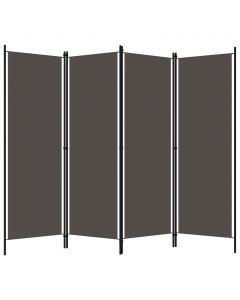 Paravent 4 panneaux Murmura 200x180cm Tissu Gris