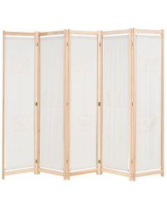 Paravent 5 panneaux Zomba 200x170cm Bois Massif Naturel et Tissu Blanc Crème