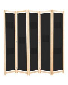 Paravent 5 panneaux Zomba 200x170cm Bois Massif Naturel et Tissu Noir