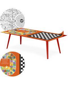 Table basse magnétique rectangulaire 120x60cm Bipolart Métal Rouge avec 2 Tops style Jeux