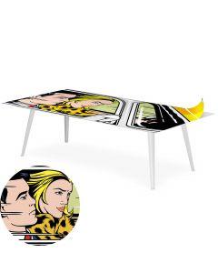 Table basse magnétique rectangulaire 120x60cm Bipolart Métal Blanc avec 1 Top Fast & Furious