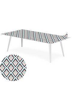 Table basse magnétique rectangulaire 120x60cm Bipolart Métal Blanc avec 1 Top Losanges