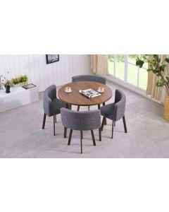 Table ronde et chaises Riga Chêne Foncé et Tissu Gris