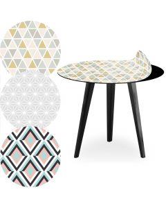Table d'appoint magnétique ronde 45cm Bipolart Métal Noir avec 3 Tops style Scandinave