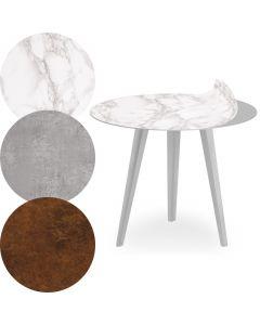 Table d'appoint magnétique ronde 45cm Bipolart Métal Argent avec 3 Tops style Textures