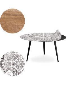 Table basse magnétique ronde 90cm Bipolart Métal Noir avec 2 Tops style Natural