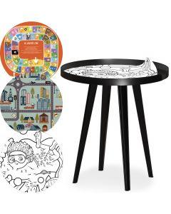 Table d'appoint magnétique ronde à rebord 45cm Bipolart Métal Noir avec 3 Tops style Kid