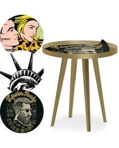Table d'appoint magnétique ronde à rebord 45cm Bipolart Métal Or avec 3 Tops style Fun