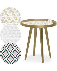 Table d'appoint magnétique ronde à rebord 45cm Bipolart Métal Or avec 3 Tops style Scandinave