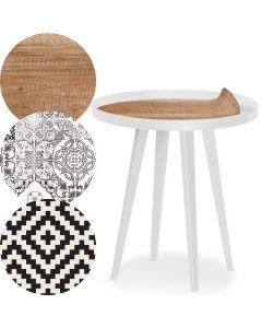 Table d'appoint magnétique ronde à rebord 45cm Bipolart Métal Blanc avec 3 Tops style Natural
