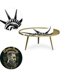 Table basse magnétique ronde à rebord 90cm Bipolart Métal Or avec 2 Tops style Fun