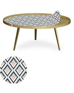 Table basse magnétique ronde à rebord 90cm Bipolart Métal Or avec 1 Top Losanges