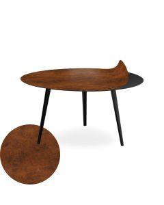 Table basse magnétique ronde 90cm Bipolart Métal Noir avec 1 Top Effet Cuir