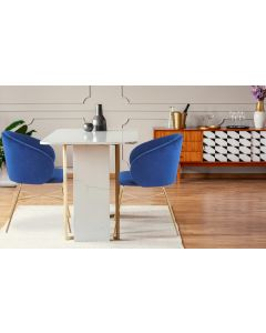 Chaise Smart Velours Bleu Pieds Or