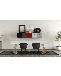 Table ronde extensible Soare Blanc pieds Or