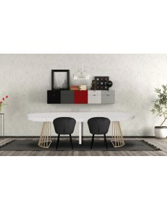 Table ronde extensible Soare Effet Marbre pieds Or