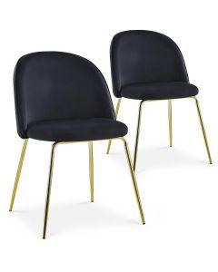 Lot de 2 chaises Spectra Velours Noir