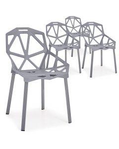 Lot de 4 chaises dossier toile d'araignée Spider Gris