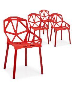 Lot de 4 chaises dossier toile d'araignée Spider Rouge