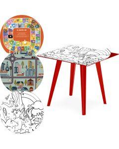 Table d'appoint magnétique carrée 40cm Bipolart Métal Rouge avec 3 Tops style Kid