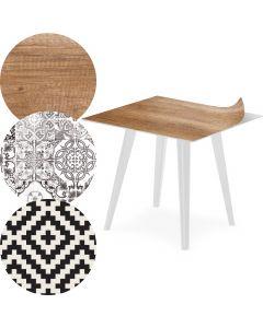 Table d'appoint magnétique carrée 40cm Bipolart Métal Blanc avec 3 Tops style Natural