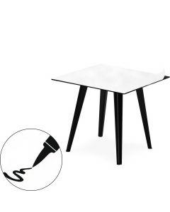 Table d'appoint magnétique carrée 40cm Bipolart Métal Noir avec 1 Top Tableau blanc effaçable