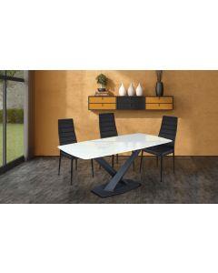 Table Axena en Verre Effet Marbre blanc