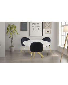 Table Greenwich Verre effet marbre Blanc et pieds Or