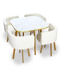Table et chaises Oslo Or Effet Marbre et Simili Blanc