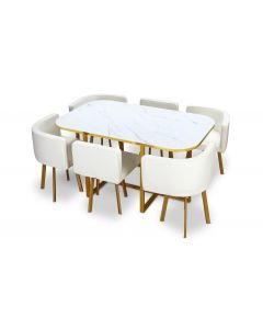 Table et chaises Oslo XL Marbre Blanc Or et Simili Blanc