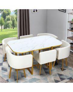 Table et chaises Oslo XL Or Effet Marbre Blanc et Simili Blanc