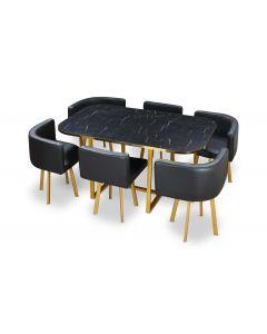 Table et chaises Oslo XL Marbre Noir Or et Simili Noir