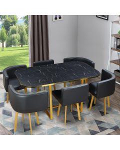 Table et chaises Oslo XL Or Effet Marbre Noir et Simili Noir