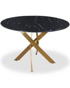 Table ronde Corix Marbre Noir et pieds Or
