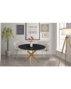 Table ronde Corix Verre effet Marbre Noir et pieds Or