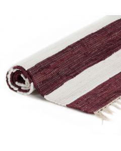 Tapis Chindi tissé à la main Coton 120x170cm Bordeaux et blanc